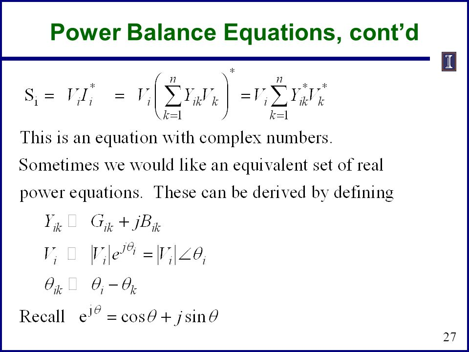 Power Balance Equations, cont'd