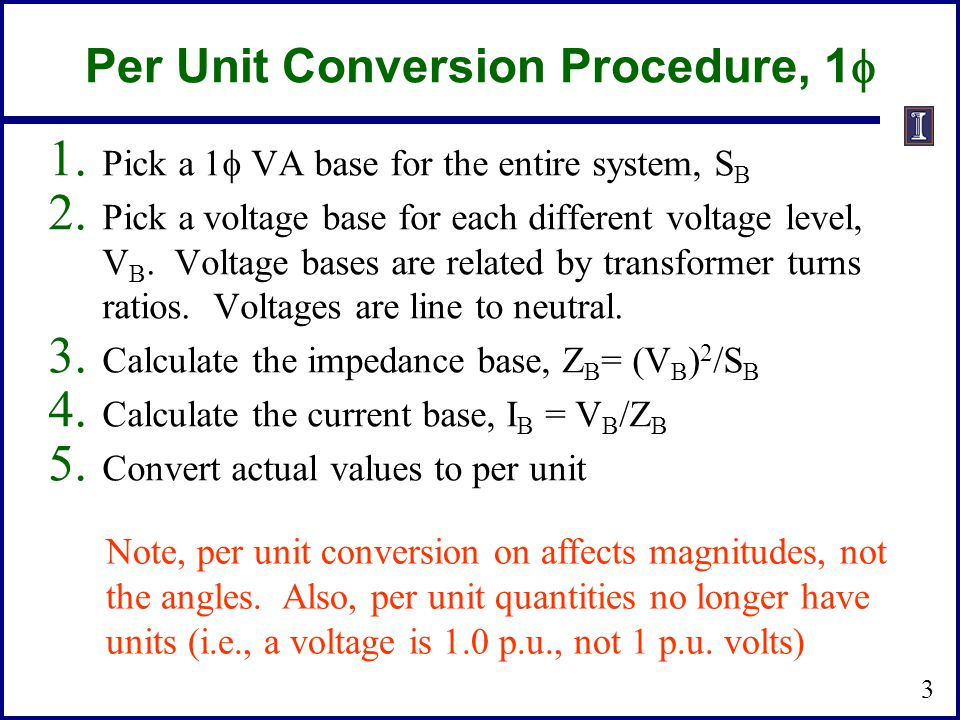 Per Unit Conversion Procedure, 1f