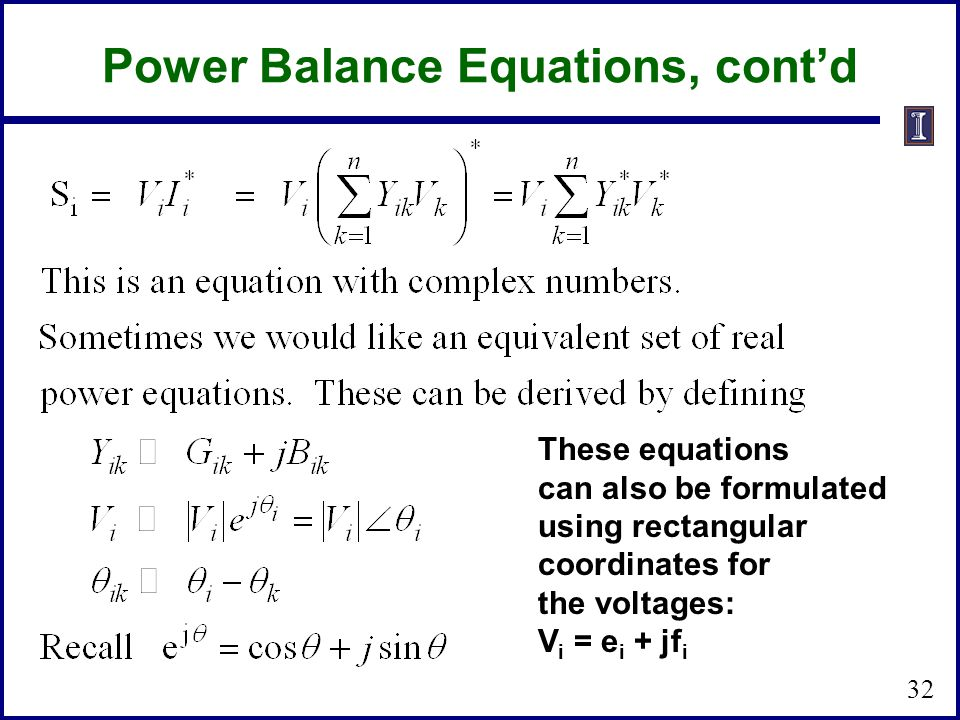 Power Balance Equations, cont'd