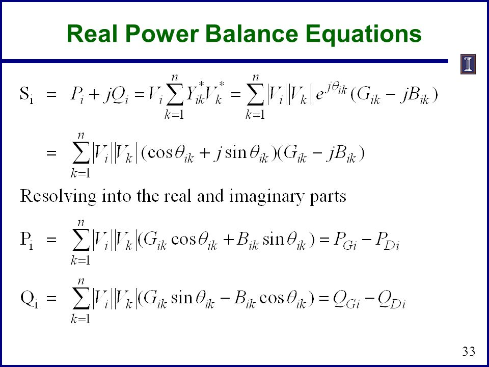 Real Power Balance Equations