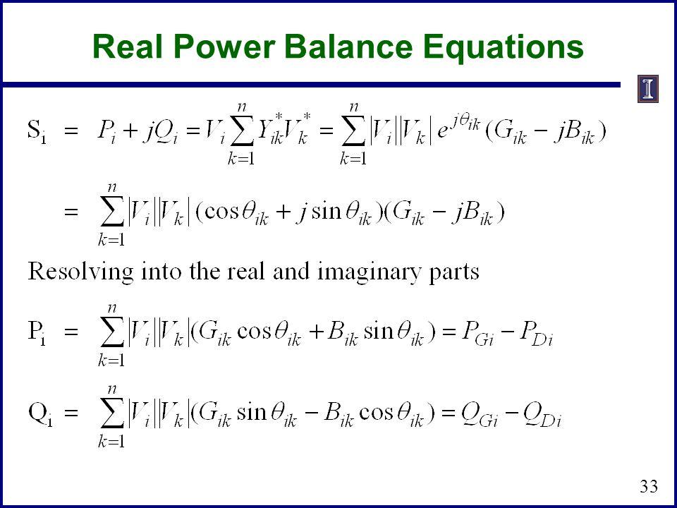 Real Power Balance Equations