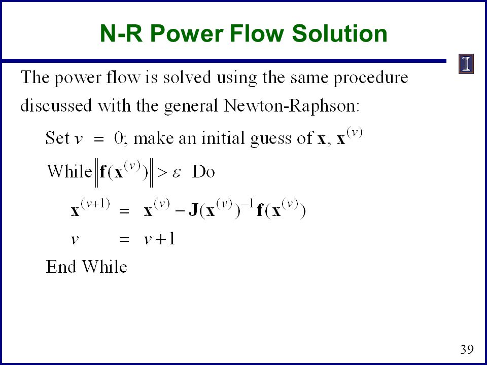 N-R Power Flow Solution
