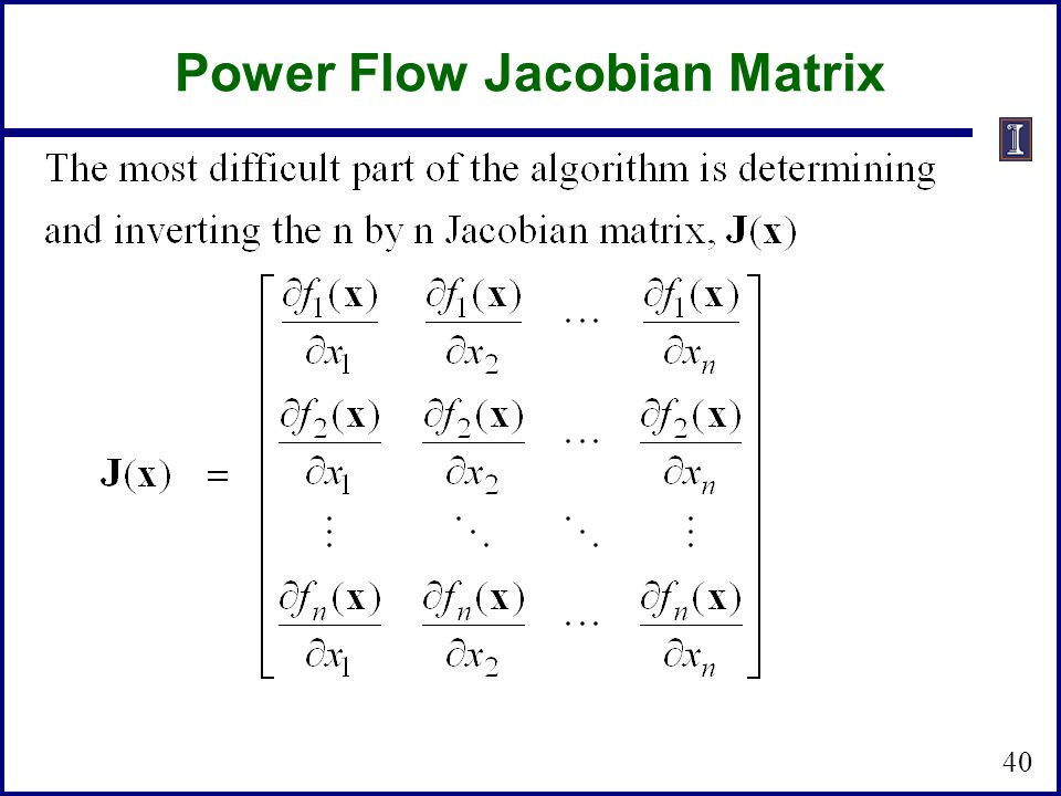 Power Flow Jacobian Matrix