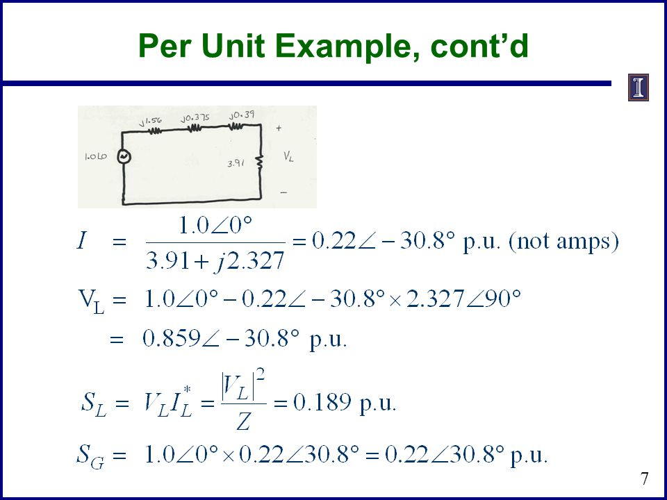 Per Unit Example, cont'd