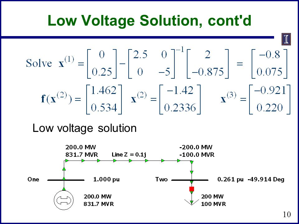 Low Voltage Solution, cont d