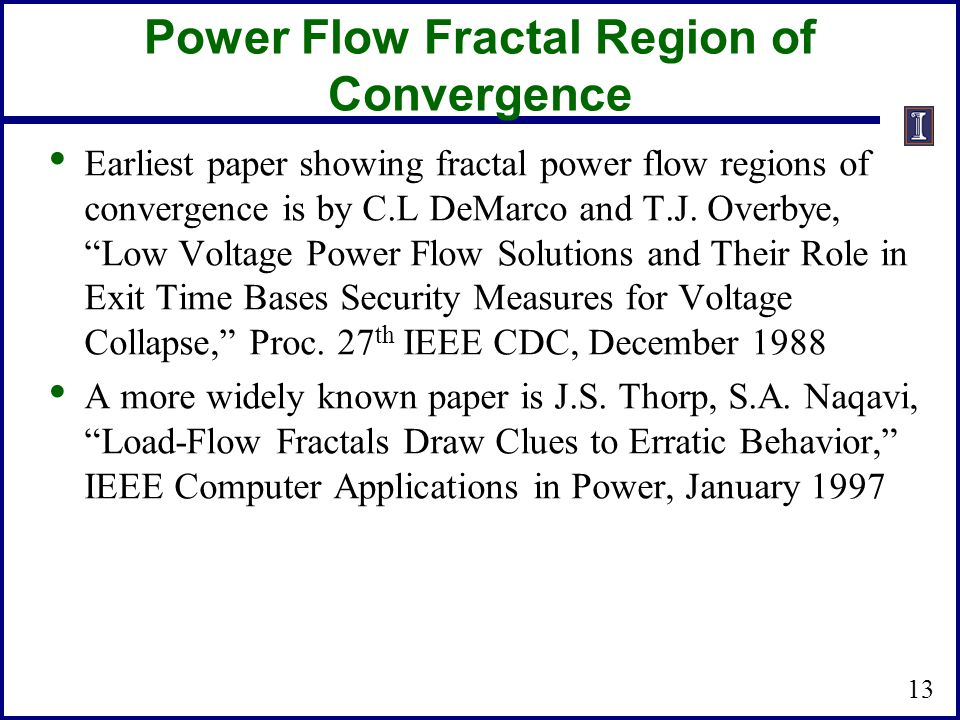 Power Flow Fractal Region of Convergence