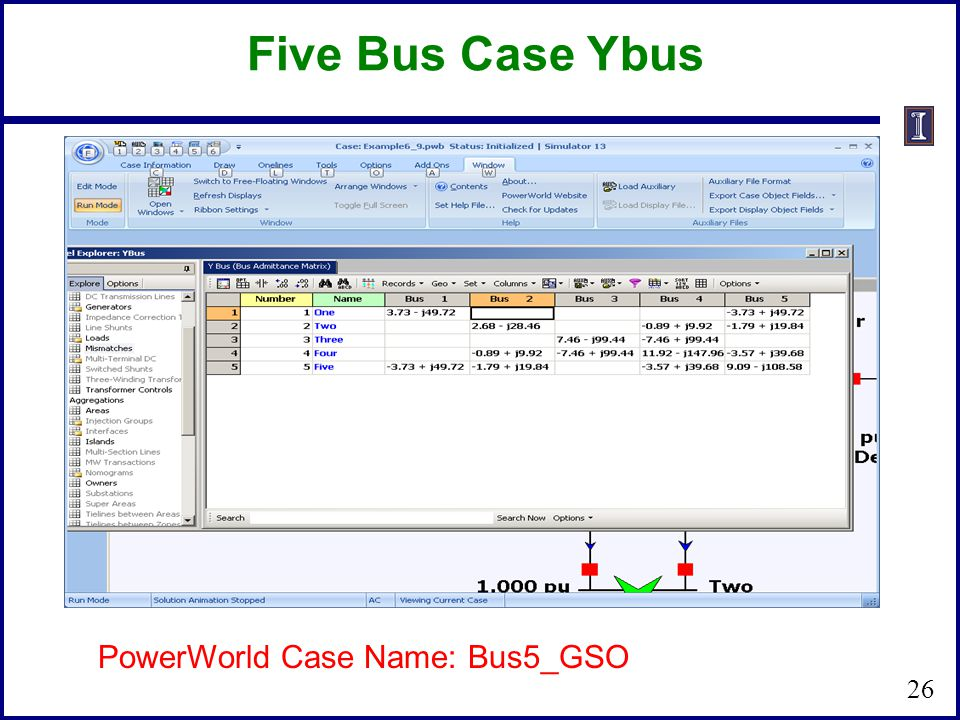 Five Bus Case Ybus PowerWorld Case Name: Bus5_GSO 26