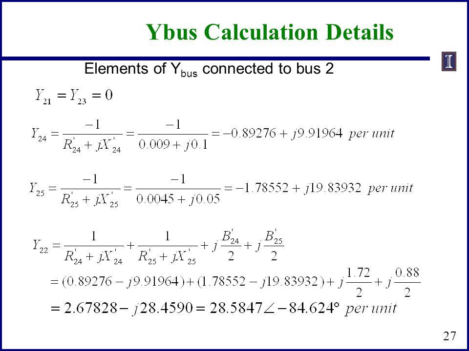 Ybus Calculation Details