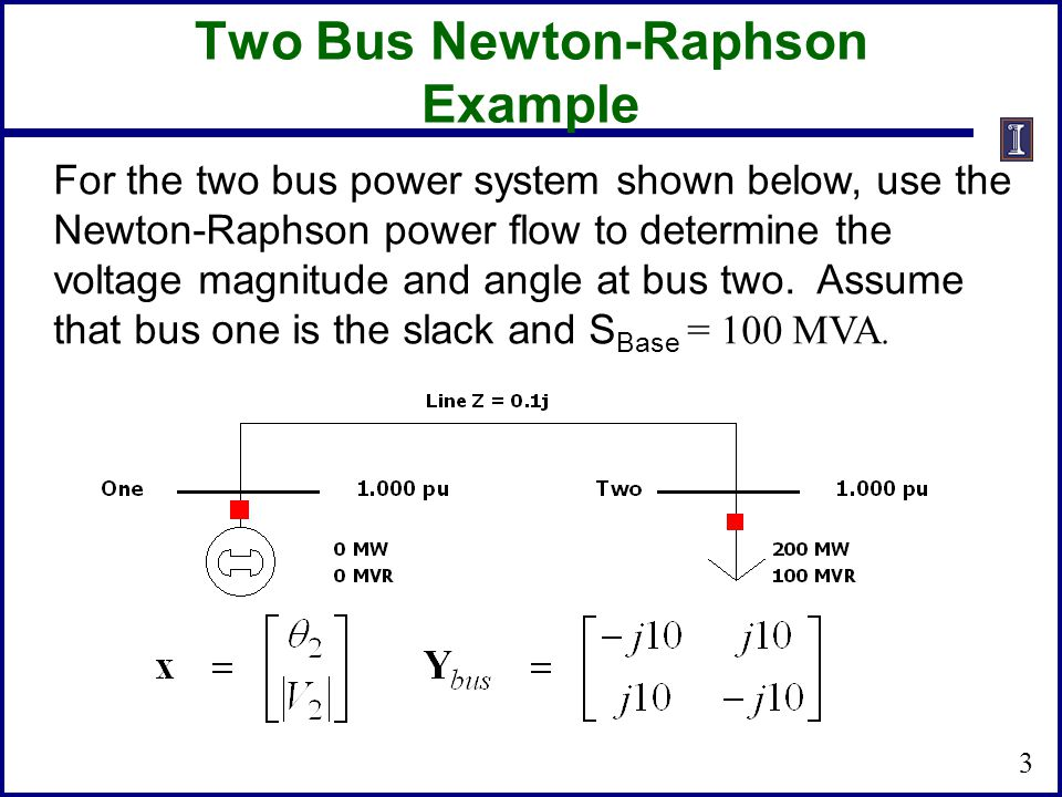Two Bus Newton-Raphson Example