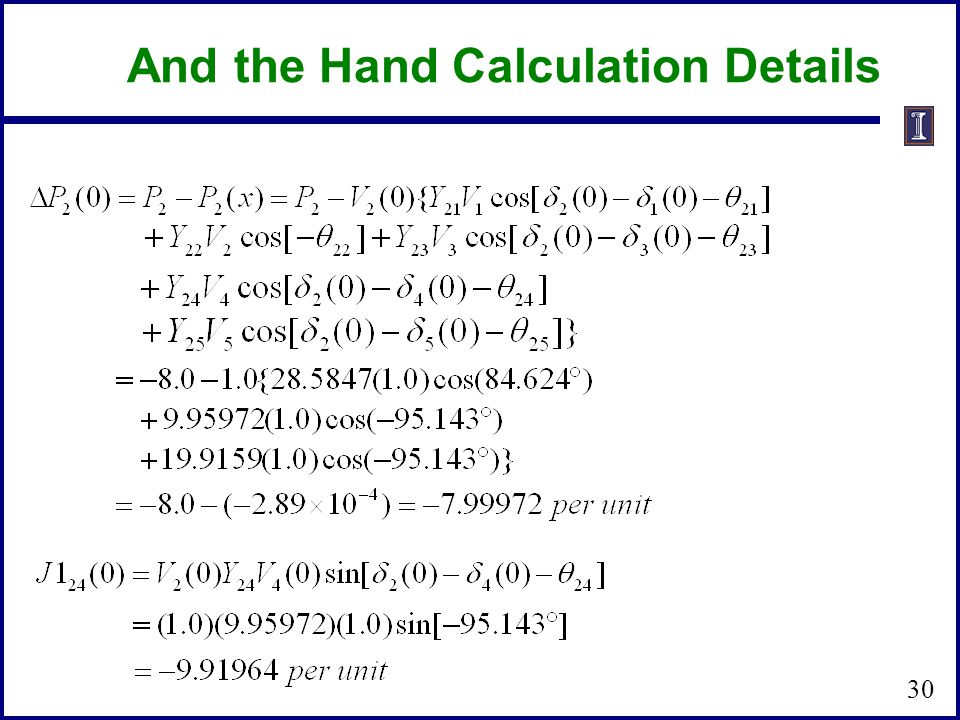 And the Hand Calculation Details