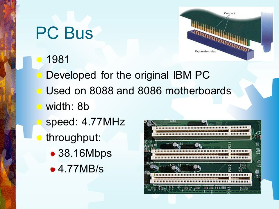 PC Bus 1981 Developed for the original IBM PC