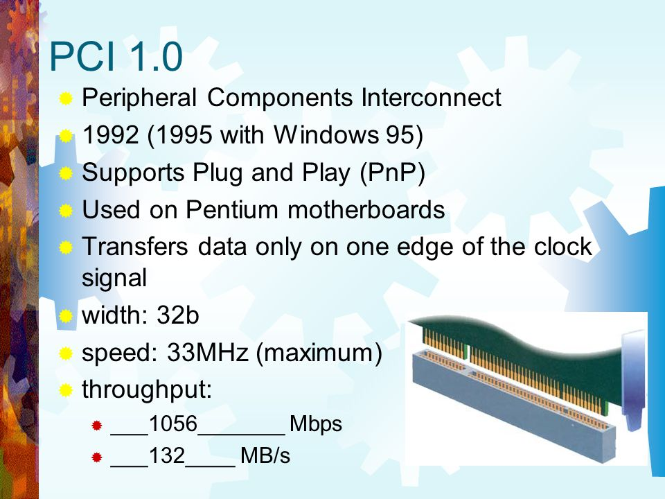 PCI 1.0 Peripheral Components Interconnect 1992 (1995 with Windows 95)