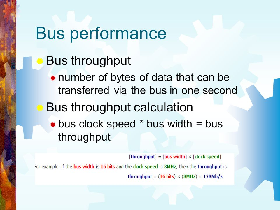 Bus performance Bus throughput Bus throughput calculation