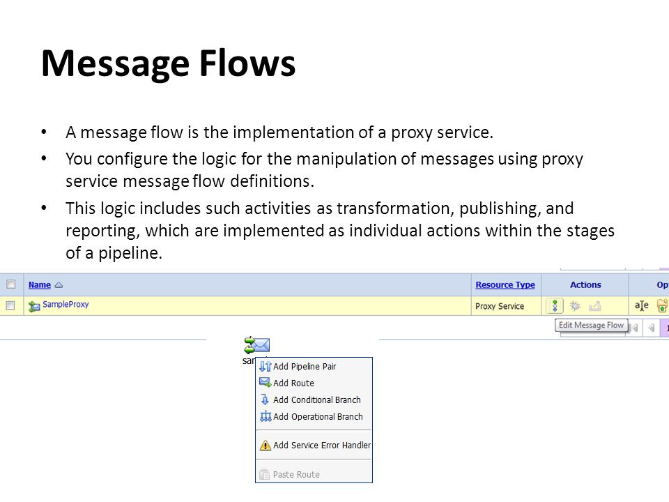 Message Flows A message flow is the implementation of a proxy service.