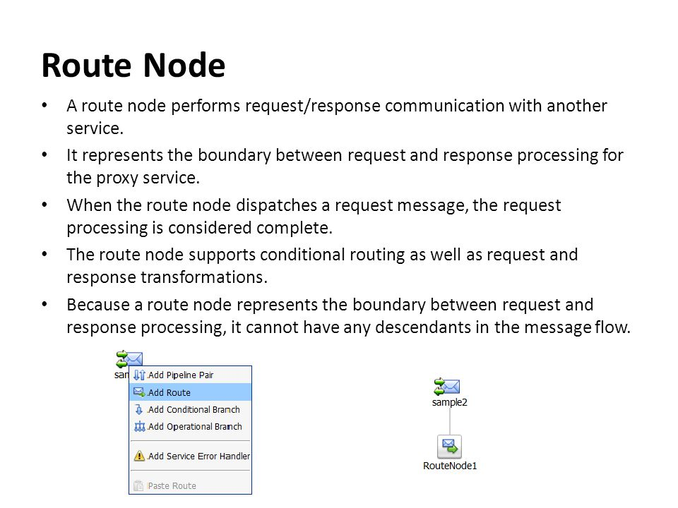 Route Node A route node performs request/response communication with another service.