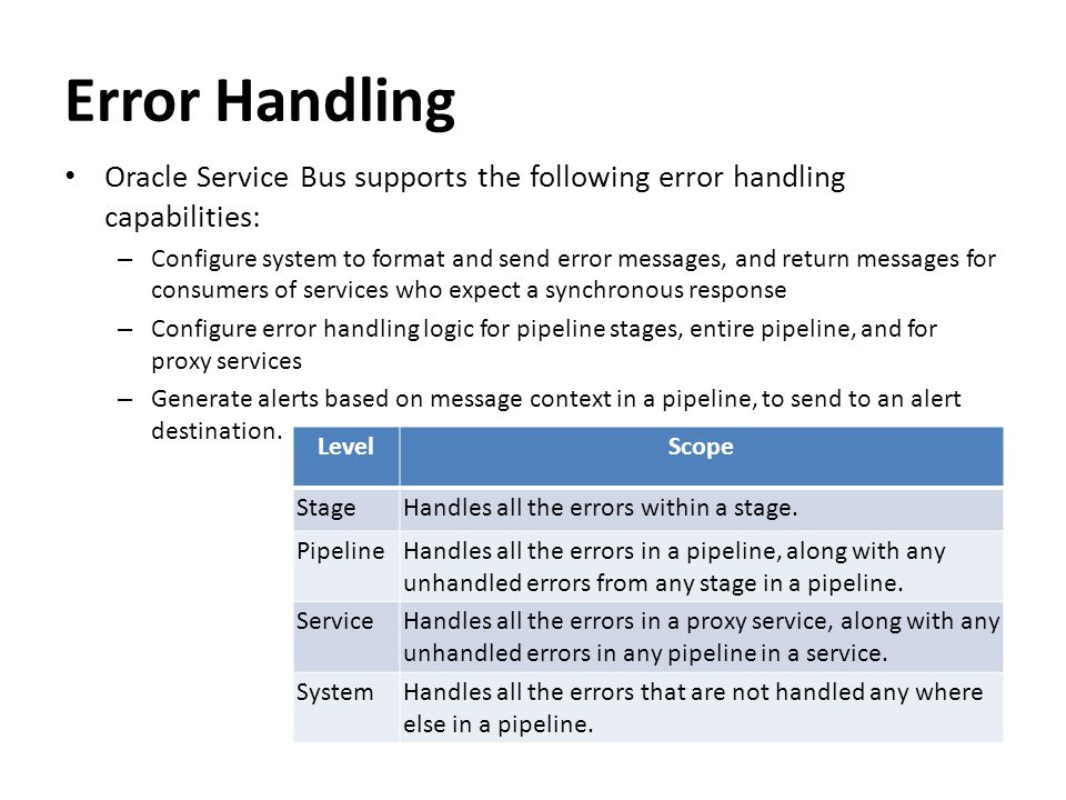Error Handling Oracle Service Bus supports the following error handling capabilities: