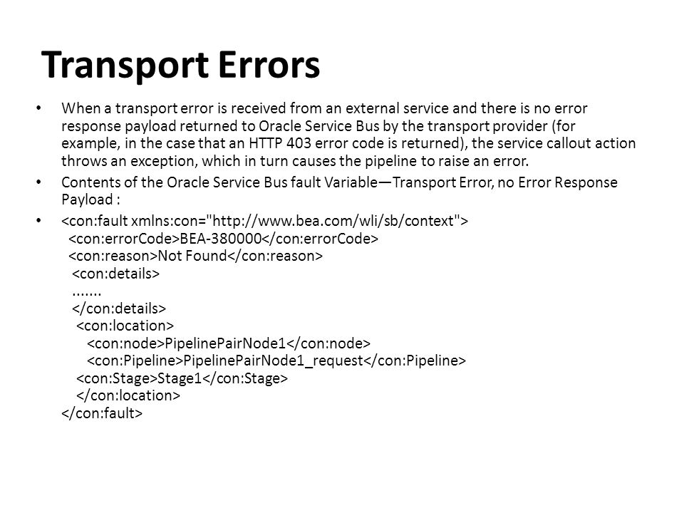Transport Errors