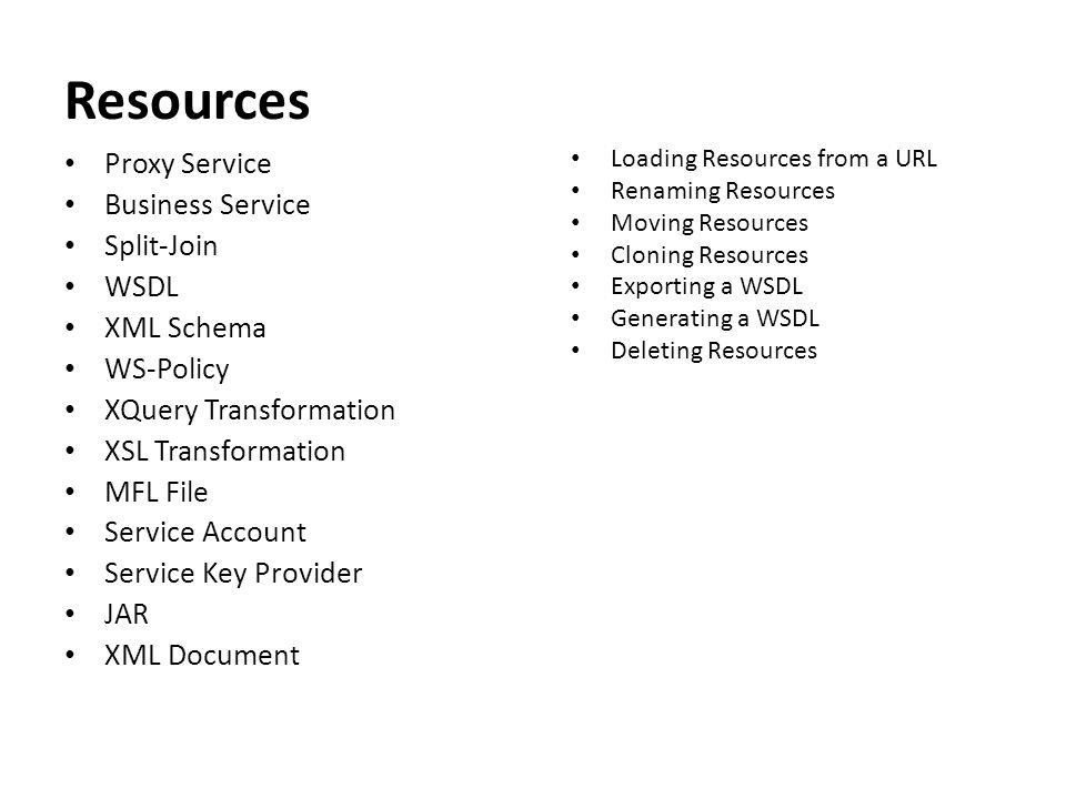 Resources Proxy Service Business Service Split-Join WSDL XML Schema