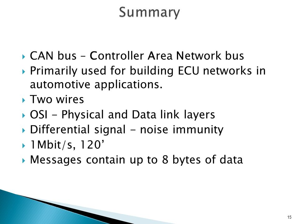 Summary CAN bus – Controller Area Network bus