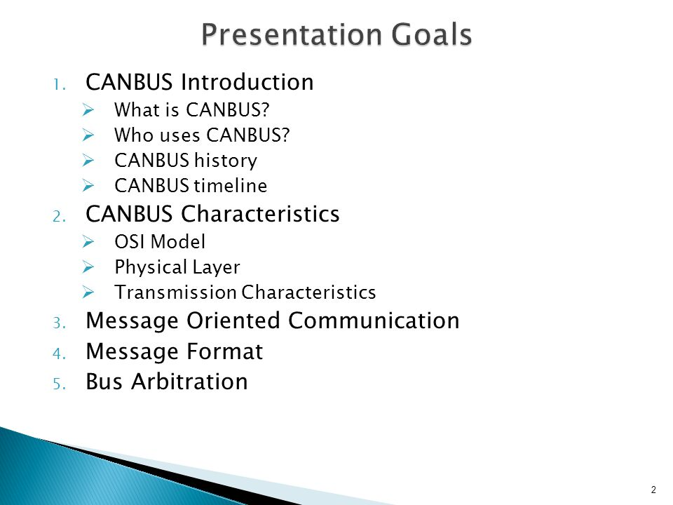 Presentation Goals CANBUS Introduction CANBUS Characteristics