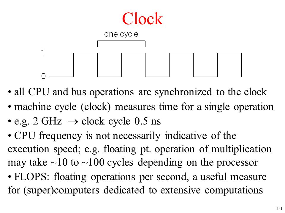 Clock all CPU and bus operations are synchronized to the clock