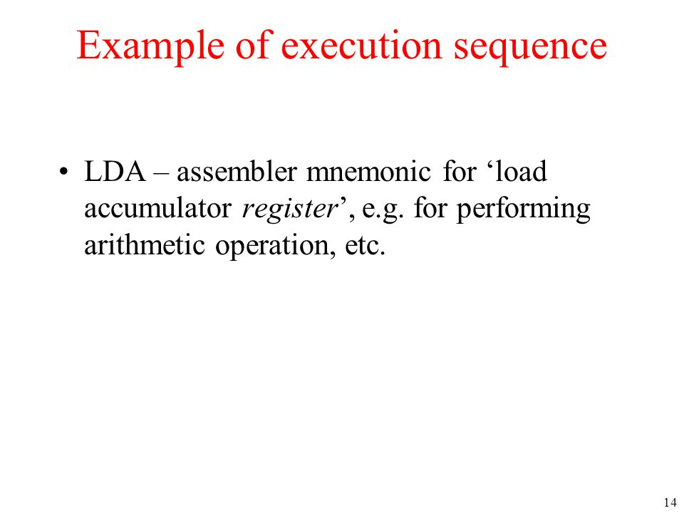 Example of execution sequence
