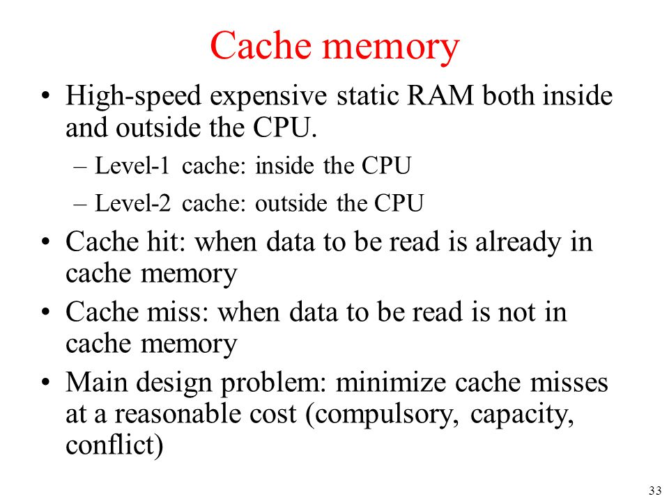 Cache memory High-speed expensive static RAM both inside and outside the CPU. Level-1 cache: inside the CPU.