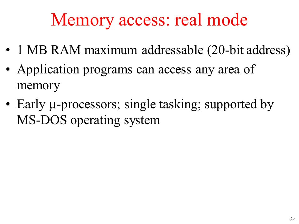 Memory access: real mode