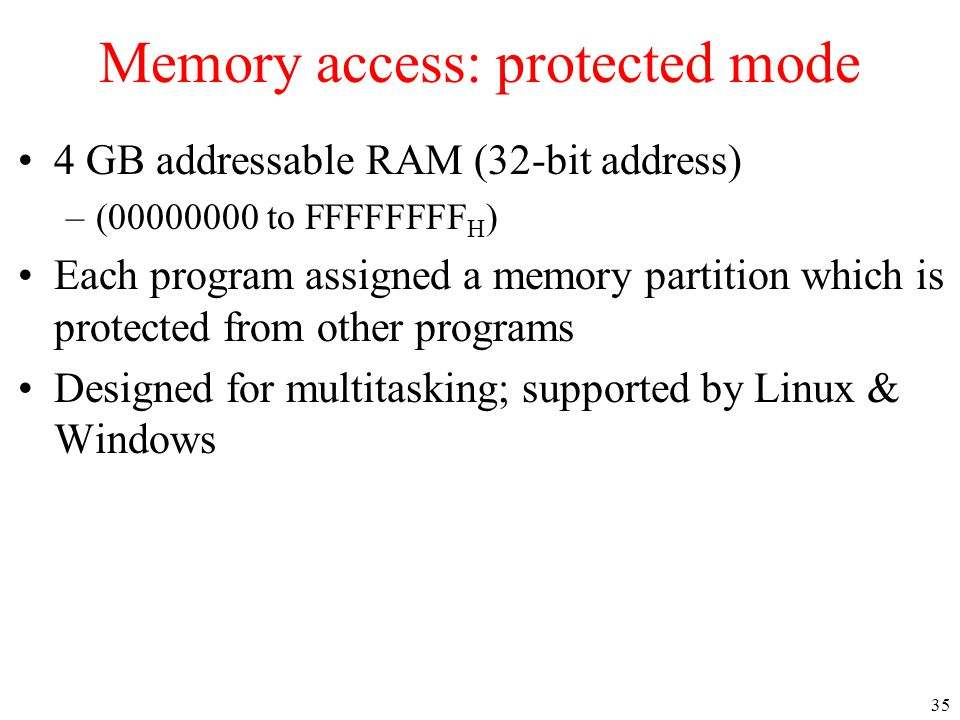 Memory access: protected mode
