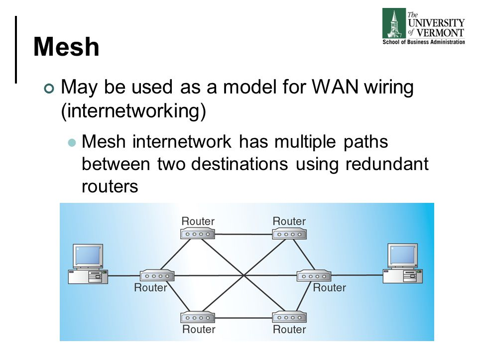 Mesh May be used as a model for WAN wiring (internetworking)