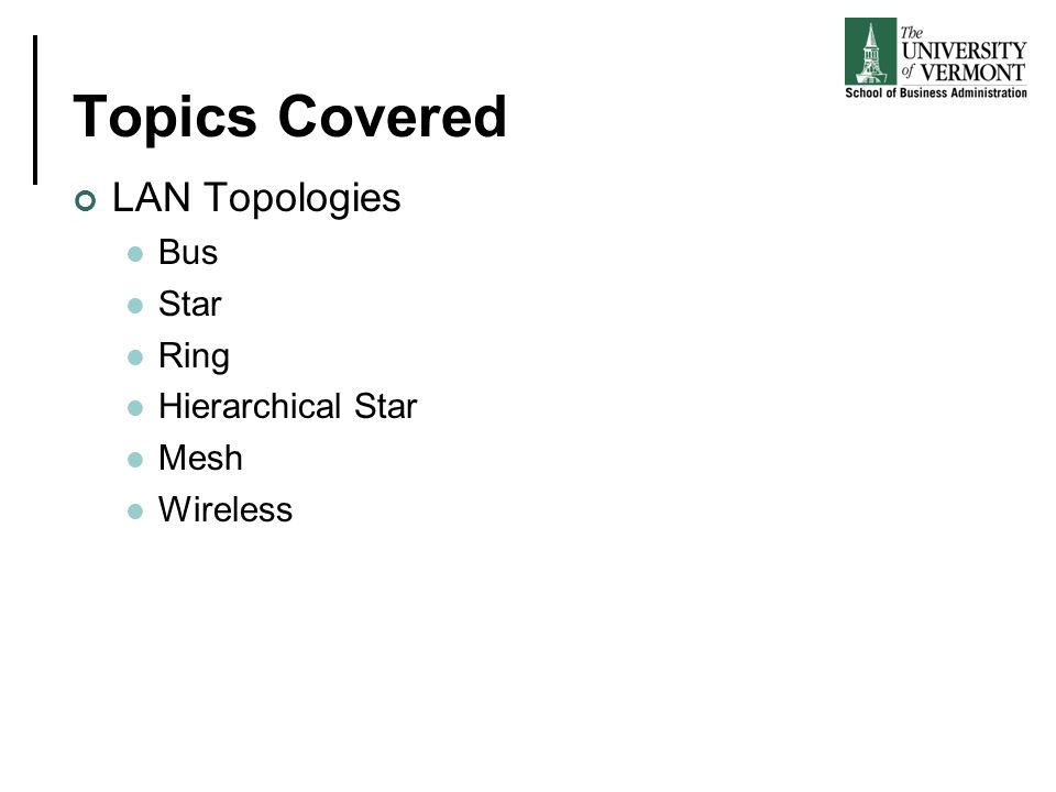Topics Covered LAN Topologies Bus Star Ring Hierarchical Star Mesh