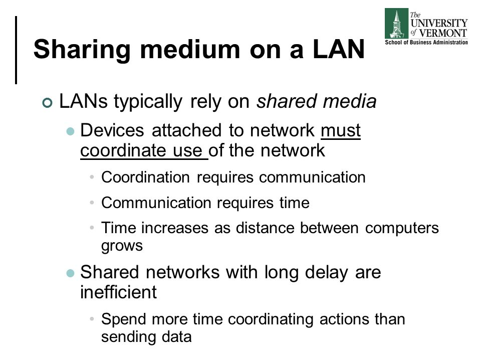 Sharing medium on a LAN LANs typically rely on shared media
