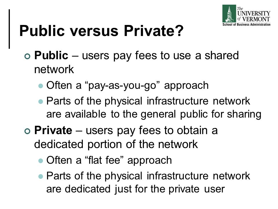 Public versus Private Public – users pay fees to use a shared network