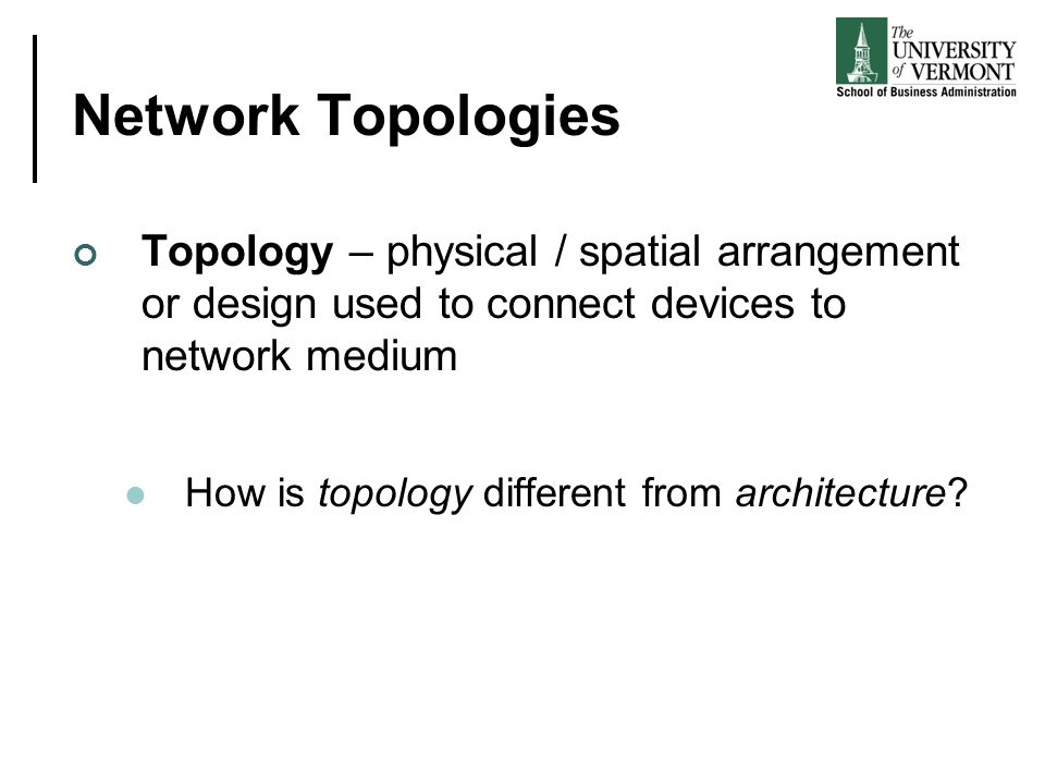 Network Topologies Topology – physical / spatial arrangement or design used to connect devices to network medium.