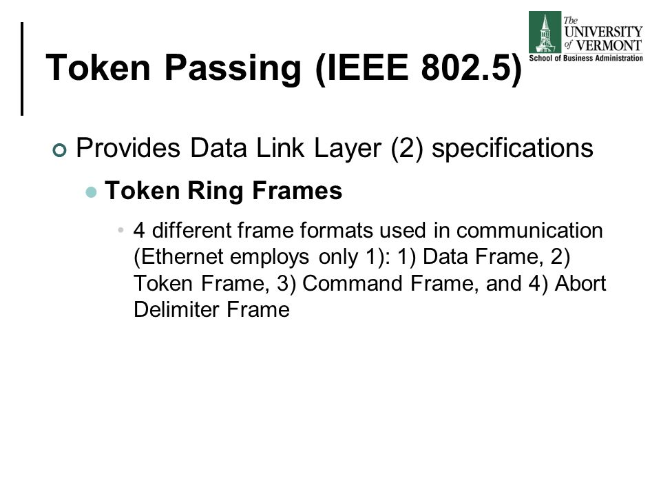 Token Passing (IEEE 802.5) Provides Data Link Layer (2) specifications