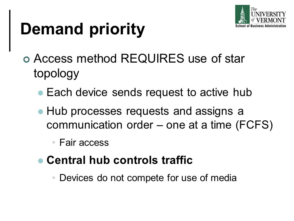 Demand priority Access method REQUIRES use of star topology