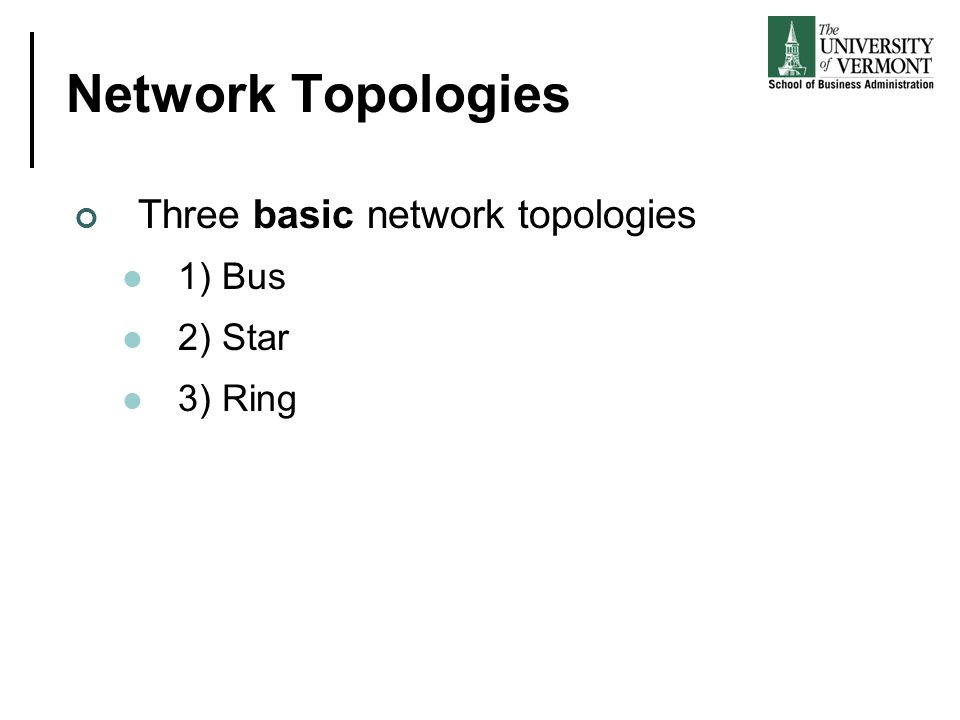 Network Topologies Three basic network topologies 1) Bus 2) Star