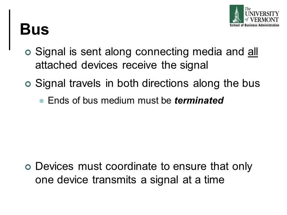 Bus Signal is sent along connecting media and all attached devices receive the signal. Signal travels in both directions along the bus.