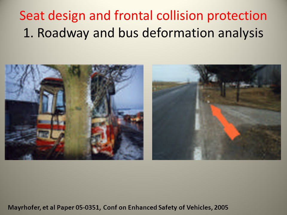 Seat design and frontal collision protection 1