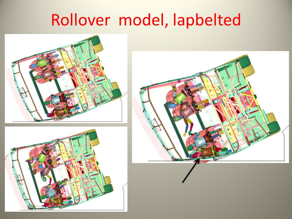 Rollover model, lapbelted