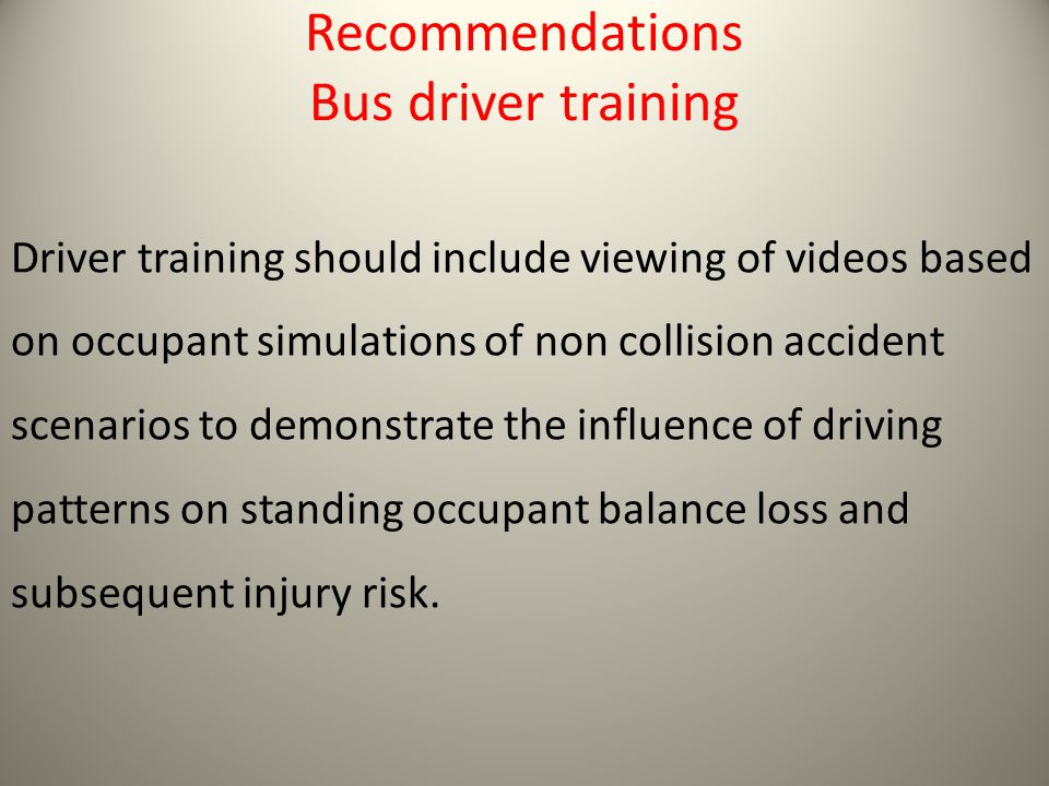 Recommendations Bus driver training