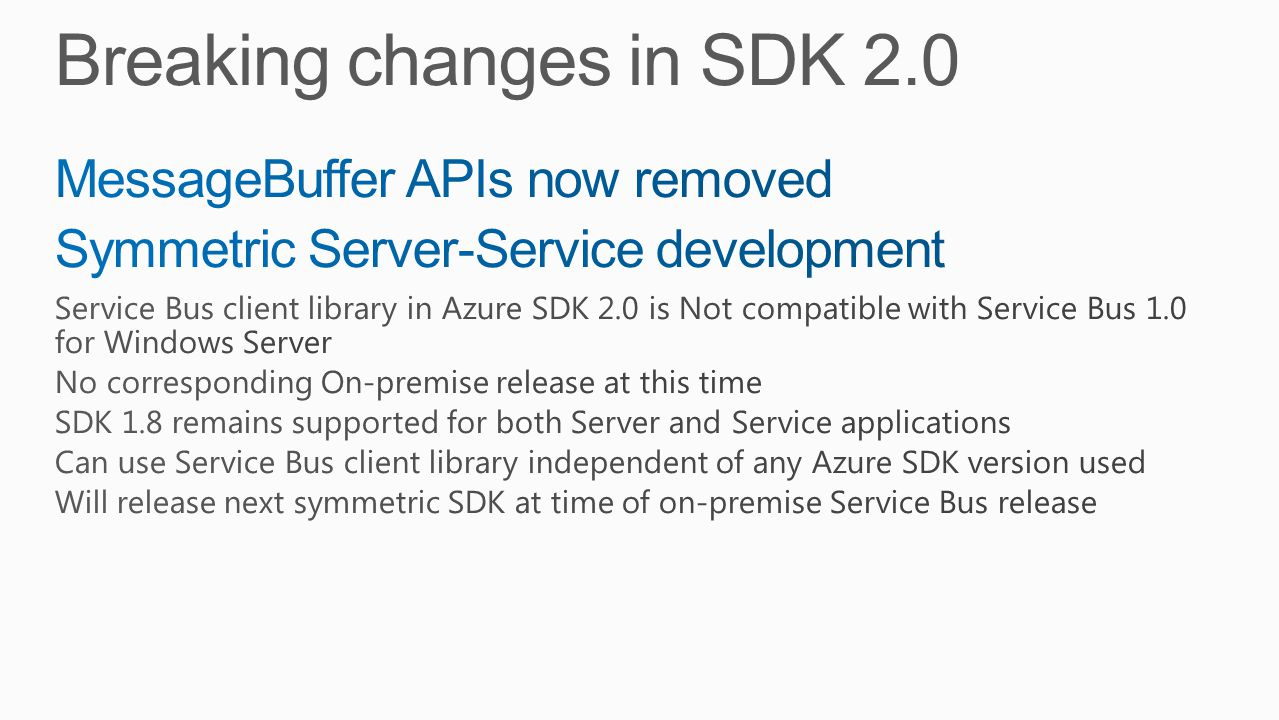 Breaking changes in SDK 2.0