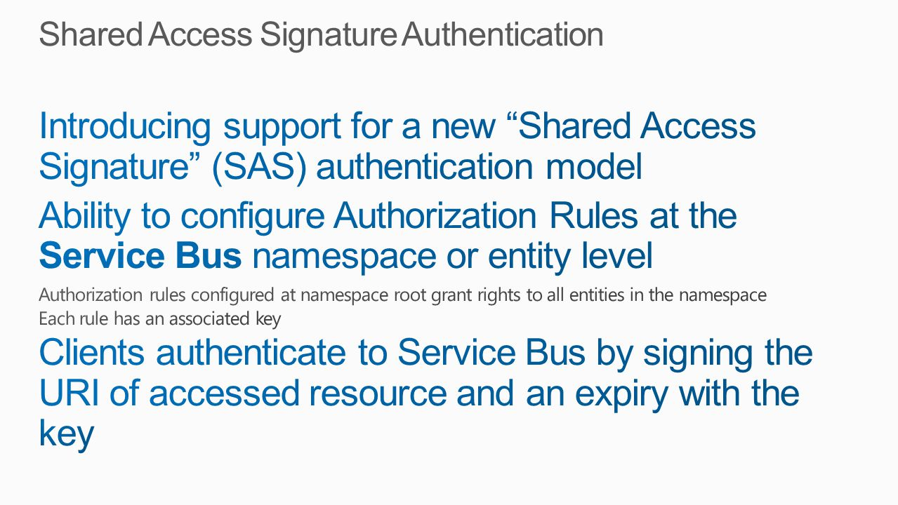Shared Access Signature Authentication