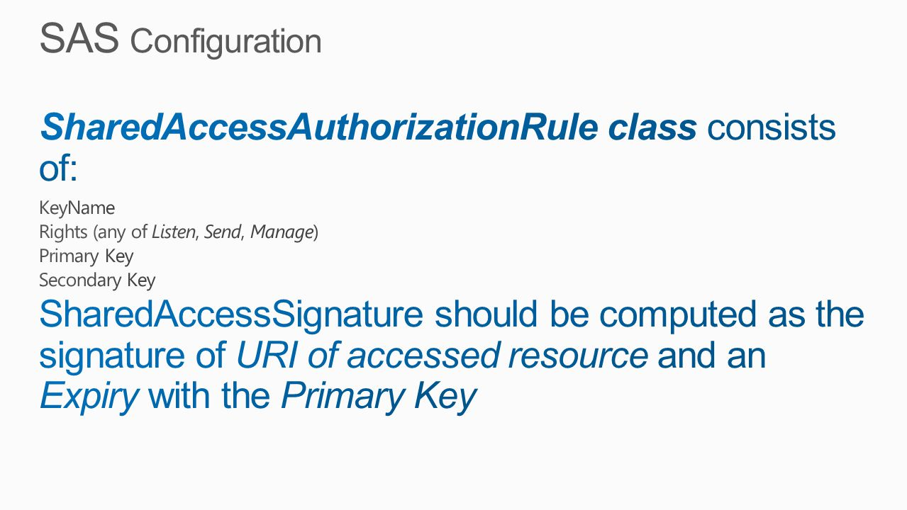 SAS Configuration SharedAccessAuthorizationRule class consists of: