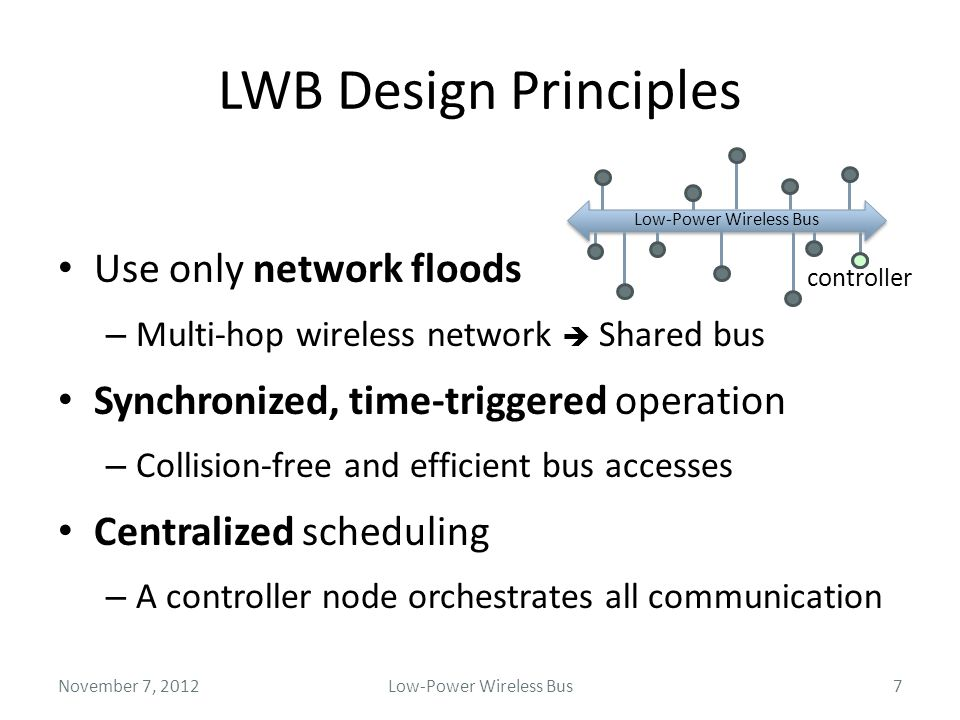 LWB Design Principles Use only network floods