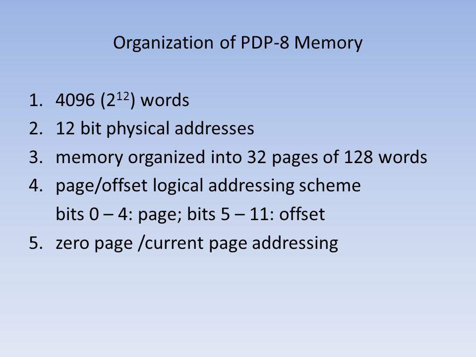 Organization of PDP-8 Memory