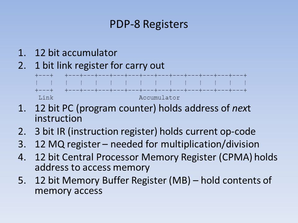 PDP-8 Registers 12 bit accumulator 1 bit link register for carry out