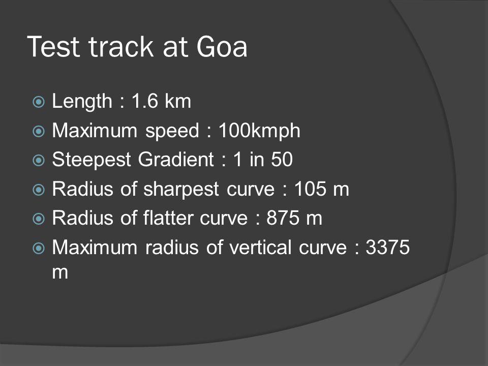 Test track at Goa Length : 1.6 km Maximum speed : 100kmph