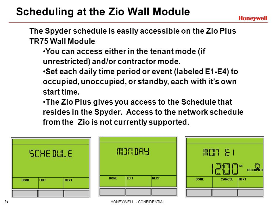 Scheduling at the Zio Wall Module