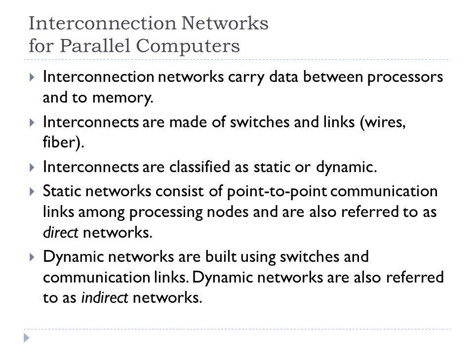Interconnection Networks for Parallel Computers